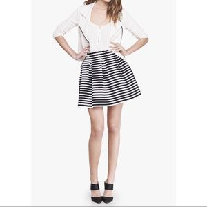 High Waist Scalloped Elastic Stripe Full Skirt